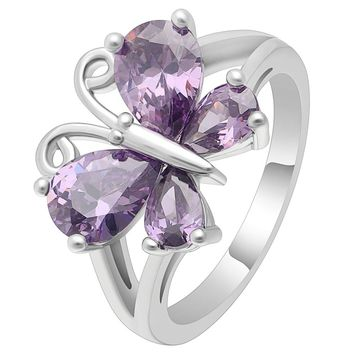 Hainon Luxury Purple Cz Crystal Butterfly Rings for Women Jewelry Fashion Silver Color Finger Ring Wedding Engagement Jewelry