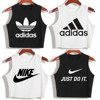 """Nike"" ""Adidas""New Summer Fashion Casual Classic Letter Print Round Neck Sleeveless Vest T-shirt Crop Tops"