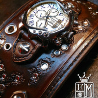 Leather cuff watch Post Apocalyptic style wide studded made in NYC