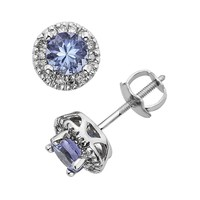 The Regal Collection Tanzanite & 1/8 Carat T.W. IGL Certified Diamond 14k White Gold Tiered Halo Stud Earrings (Purple)