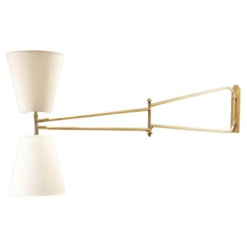 Midcentury French Design Diabolo Shades Swivel Full Brass Wall Arm Lamp