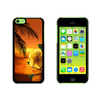 Beach Sunset - Hibiscus Flower Palm Tree Ocean Hawaii Vacation Case for Apple iPhone 5C