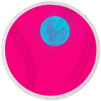 Romantic Super Moon - Round Beach Towel