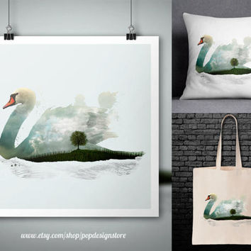 Swan Double Exposure City Landscape Animals Print Poster Tote Bag Mug Frame Pillow Case - Digital File for Download PNG High Quality
