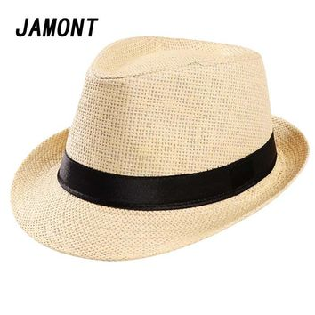 Fashion Summer Straw Men's Sun Hat Fedora Cap Summer Beach Gangster Cap Panama Hat Travel Jazz Caps Cowboy Caps