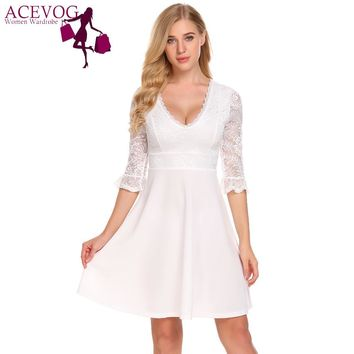 ACEVOG Vintage Women Style Plunging 3/4 Sleeve Sheer Lace Patchwork Party Swing Dress