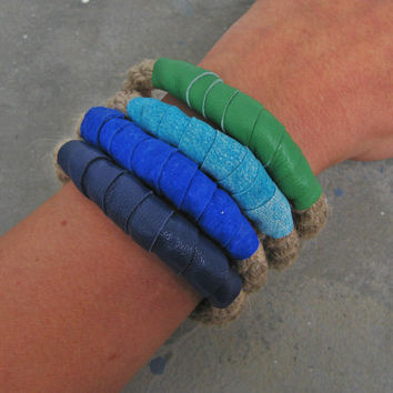 Rope Stacked Bracelets in Sea Foam Brights Set of 4 - Arm Party  Boho Chic Style Stack Bracelets