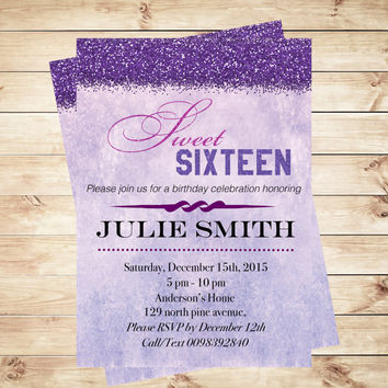 Sweet 16 birthday party invitations printable birthday invitation, sweet 16 invitation printable, sweet sixteen invitations | Art Party