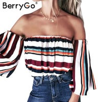 BerryGo Striped off shoulder cool blouse shirt Summer flare sleeve soft sexy blouse women top Casual streetwear femme blusas