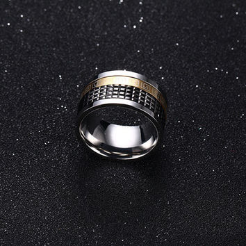 Men Spinner Rings Black&Gold-Color Stainless Steel Wedding Rings for Men and Women