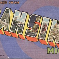Vintage Michigan Postcard Greetings From Lansing by smoothseas