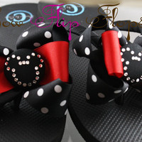 Mickey Mouse Rhinestone Disney Bow Flip Flops- bling swarovski custom red and black, perfect for your Princess or Disney Vacation
