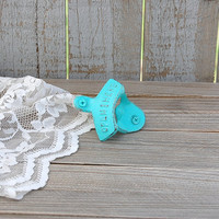 Bottle Opener, Wall Mounted, Shabby Chic, Tiffany Blue, Aqua, Hand Painted, Cast Iron, Metal, Distressed, Beach Decor, Open Here