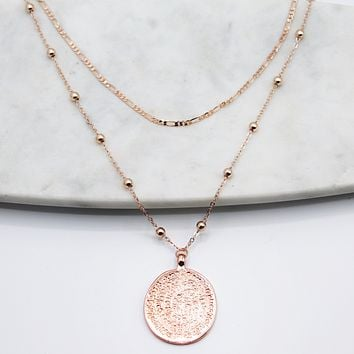 Rose Gold Vintage Coin Necklace