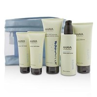 Ahava Deadsea Water Mineral Body Kit: Shower Gel + Body Exfoliator + Body Lotion + Hand Cream + Foot Cream + Blue Bag Skincare