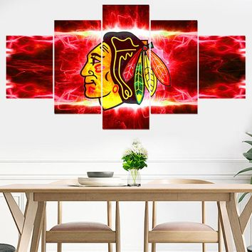 Chicago Blackhawks Creative 5 panel canvas painting painting modern abstract photo wall painting decoration
