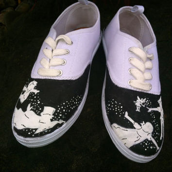 Girls custom hand painted acrylic vans style shoes Peter pan (SHOES INCLUDED)