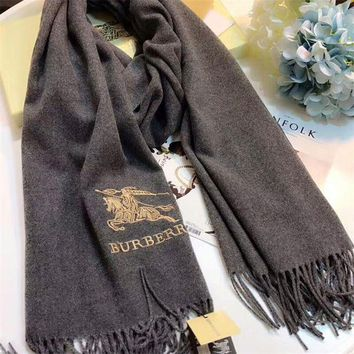 NOV9O2 Luxury Burberry Keep Warm Scarf Embroidery Scarves Winter Wool Shawl Feel Silky And Delicate - Black