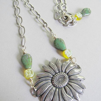 Silver Sunflower Necklace - Bold, Green and Yellow Czech Beads - Mothers Day