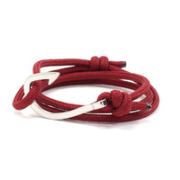 Silver Hook on Maroon Rope