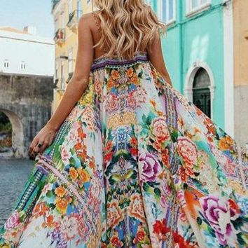 Women BOHO Dress Fashion Casual Sundress Sleeveless Floral Slit Long Party Prom Summer Beach Maxi Dress Women Beauty Clothing