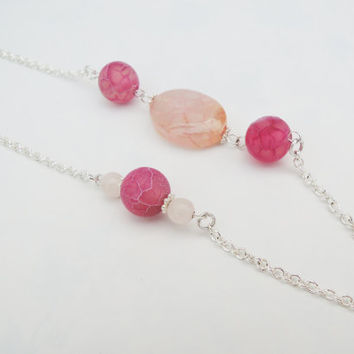 Pink Chinese Agate Beaded Abstract Necklace Handmade by Lindsey - Beads from Siesta Key, Florida- Abstract Necklace -Sterling Silver Pleated
