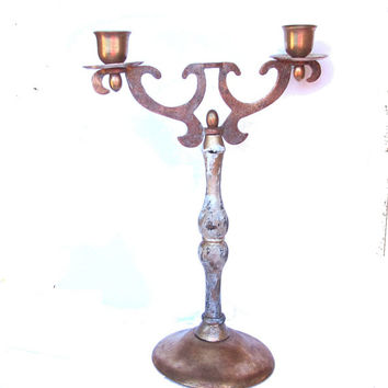Vintage candle holder. White candle holder. Wood candle holder. Brass candle holder. Brass candlestick. Candelabra. Vintage candelabra.