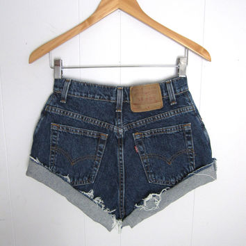Vintage 90s Levi's High Waisted Cut Off Denim Shorts Dark Wash Blue Jean Relaxed Cuffed 26""