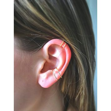 Conch and Helix Fake Piercing Set of Two - Tragus Orbital Cartilage Faux Hoops