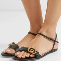 Gucci Marmont Logo-embellished Leather Sandals #1553