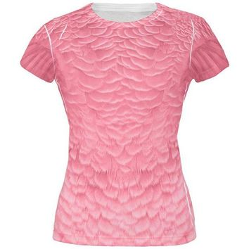 LMFCY8 Halloween Pink Flamingo Costume All Over Juniors T Shirt