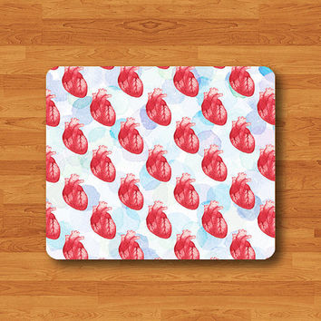 Heart Human Anatomy Watercolor Messy Art Mouse Pad Love The Day MousePad Work Pad Mat Rectangle Personal Couple Gift Red Valentine Painting