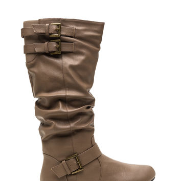 Slouchy Stand Flat Faux Leather Boots