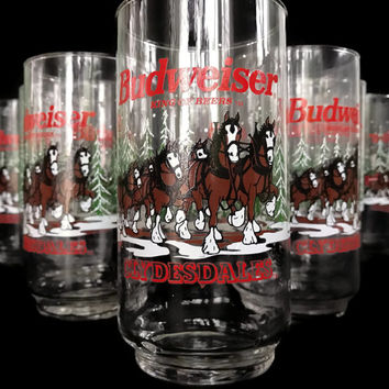 Vintage Budweiser Drinking Glasses Clydesdale 1989 Official Budweiser Beer Product Set of 8 Like New Barware