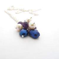 Amethyst & Pearl Cluster Necklace, Delicate Chain Pendant