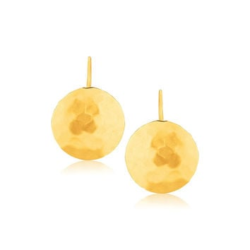 14K Yellow Gold Hammered Texture Disc Drop Earrings Medium