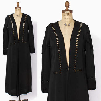 Vintage 20s Cut-Out Jacket / 1920s Black Crepe Loose Fit Over Dress Jacket