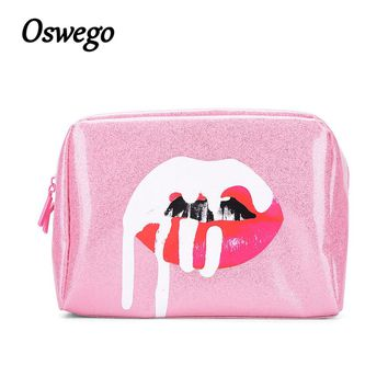 Oswego Pink Glitter Lip Cosmetic Bag Designer Brand Pouch MakeUp Bag Waterproof for Travel Storage Organizer Birthday Collection