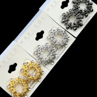 Women's Cluster Rhinestone Fashion Earrings in Gold, Silver and Gray - Smoky Mountain Boutique