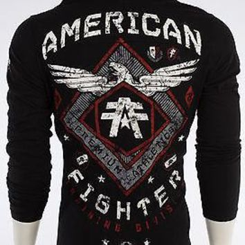 Licensed Official AMERICAN FIGHTER Mens Hoodie Sweat Shirt ABRAHAM Athletic BLACK Biker UFC $65