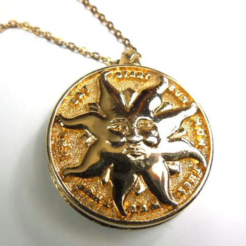 "Sun Pendant Necklace,  Pill Box Gold Tone, Vintage Sun Face, 17.5"" Chain, Dispenser"