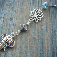 Lotus flower elephant belly ring TURQUOISE sacred zen yoga  Moroccan boho hipster new age gypsy hippie belly dancer beach and hipster style