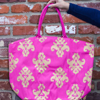 Shimmer Juco Tote in Pink