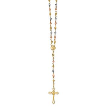 14k Tri-Color Gold 4mm Beaded Rosary Necklace with Crucifix, 24 Inch