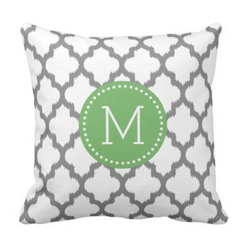 White And Gray Ikat Quatrefoil Green Accents Throw Pillows