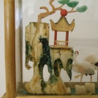 Vintage Japanese Rocky Garden Island with Pagoda and Flamingos