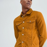 River Island Denim Jacket In Mustard at asos.com