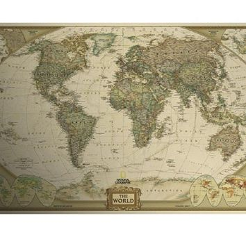Vintage Retro Matte Kraft Paper World Map Antique Poster Wall Sticker