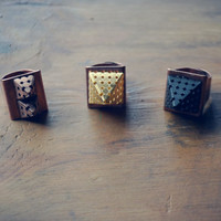 Pyramid Ring- Gold, Copper, Black Statement Ring