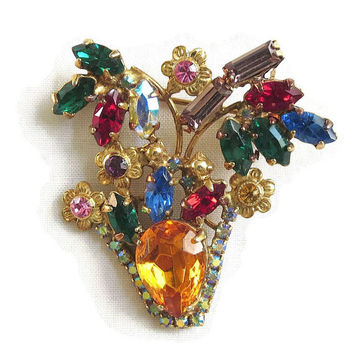 Vintage Topaz Cut Glass & Red, Blue, Green, Multi Color Rhinestones and Aurora Borealis FLOWER BASKET or Vase Brooch or Pin